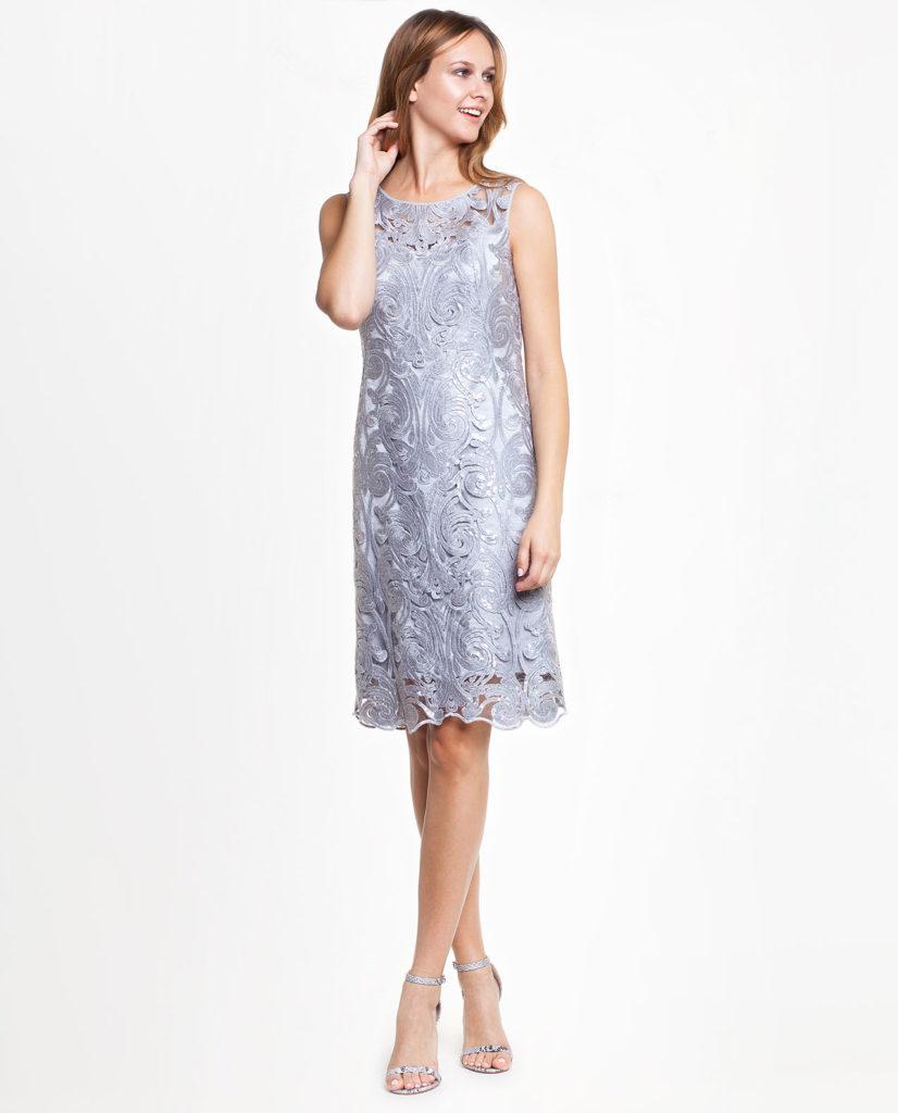 Srebrna sukienka IZABELLA odPotis&Verso wstylu shiny
