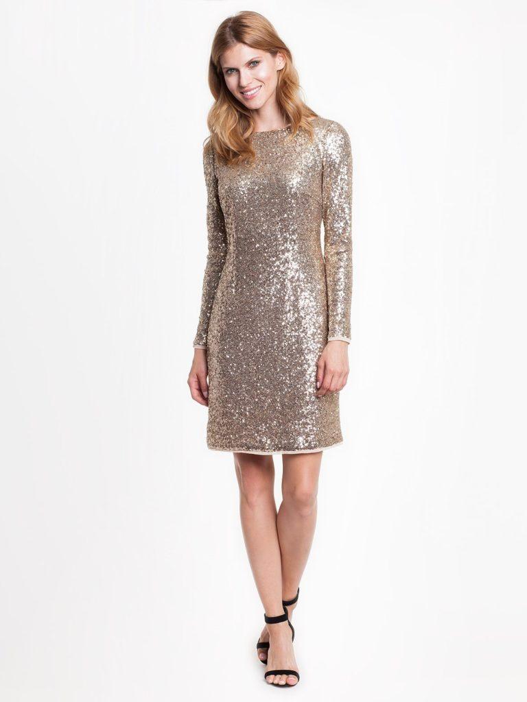 Sukienka zezłotych cekinów wstylu shiny odPotis&Verso