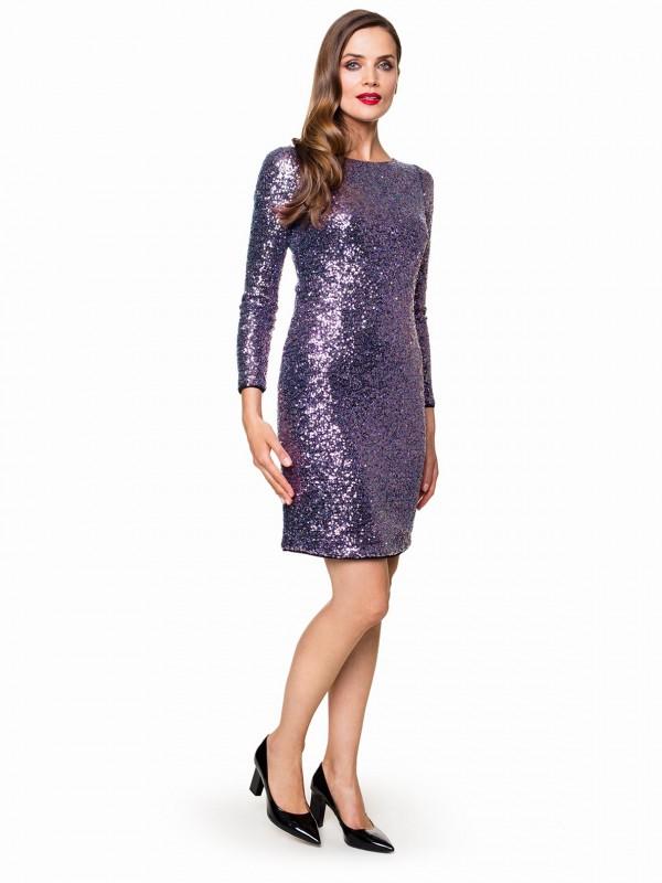 Srebrnofioletowa sukienka shiny pokryta cekinami DIAMOND odPotis&Verso