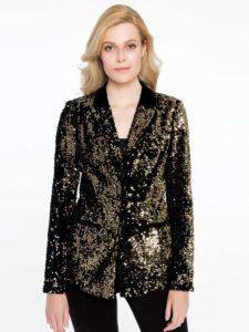 czarno-złoty żakiet Potis&Verso w stylu shiny