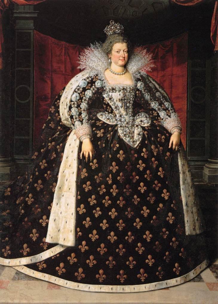 Maria Medycejska wbarokowej sukience - portret autorstwa Rubensa