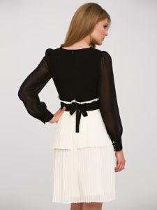 Sukienka Hemma L'AF widziana ztyłu - czarno-biała sukienka elegancka