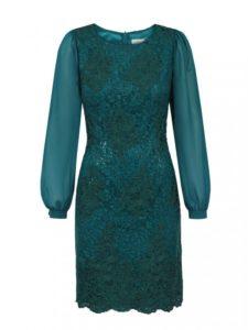 Sukienka Quaz L'AF zprzodu - zielona koronkowa sukienka