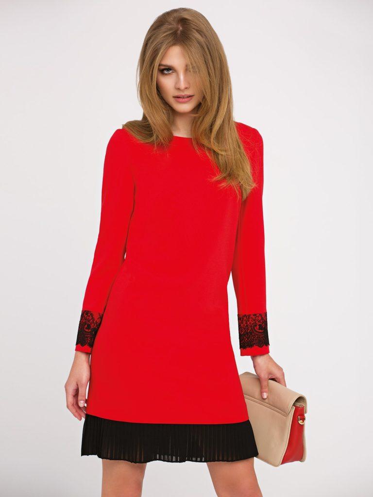 Sukienka Rose L'AF - czerwona sukienka zkoronką okroju A