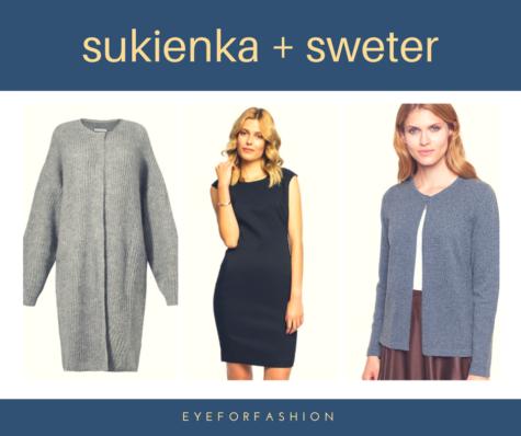 Połączenie sukienka + sweter