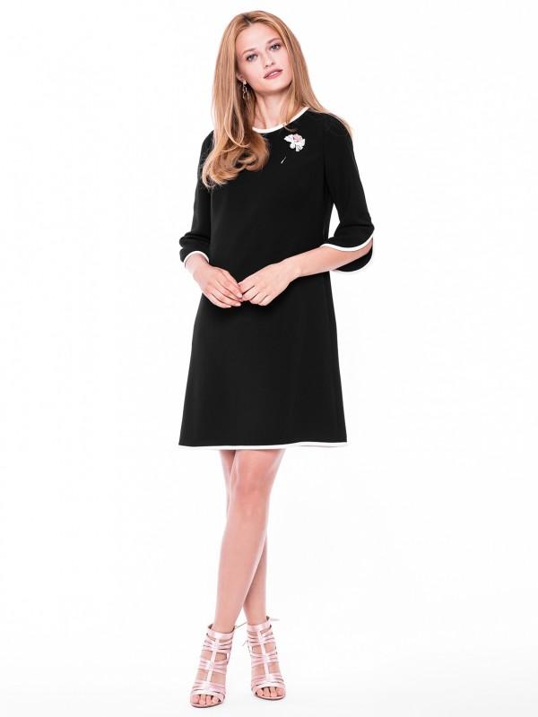 Czarna sukienka midi zbiałymi lamówkami l'af anita