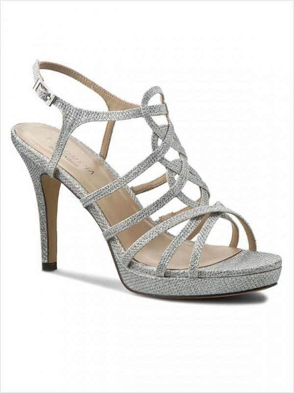 Sandały naobcasie zesrebrnym połyskiem menbur